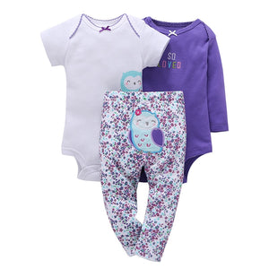 100% Cotton 2018 New baby boy girl clothes set , kids bebes girl purple owl 3pcs clothing set ropa suit-eosegal