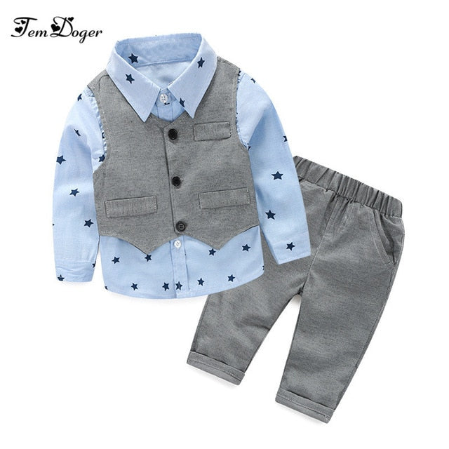 2016 baby Boys Wedding Clothes Kids Formal Suit Boy Shirt+Vest+Pants Outfits baby clothing set Children Clothing Set-eosegal