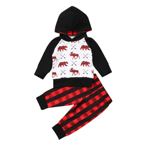 2pcs Newborn Baby Boy Girl Outfit Tops+pants Infant Toddler Xmas Clothes set