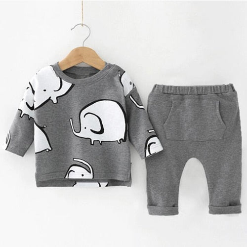 Humor Bear Baby Boys Clothes Baby Boys Clothing Sets Fashion Cartoon Style Long Sleeve + Pants 2PCS Suits-eosegal
