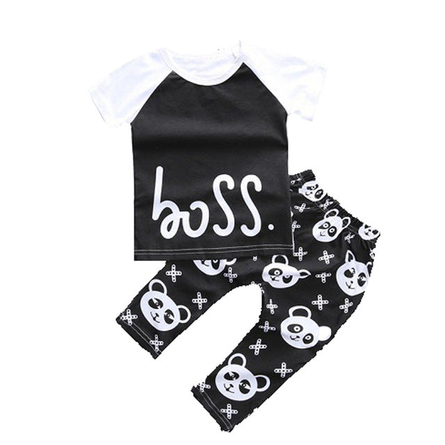 2pcs Style Infant Clothes Baby Clothing Sets Boy Cotton Little Monsters Short Sleeve Baby Boy Clothes 2018 Summer CL014720699-eosegal