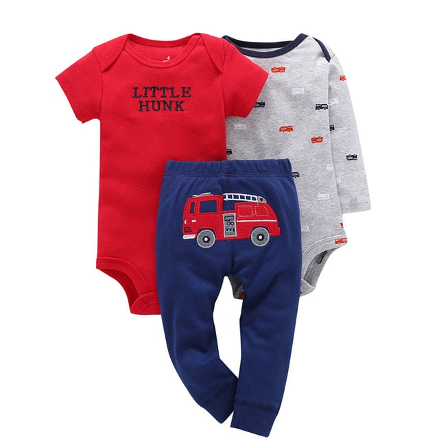 2018 NEW Arrival christmas bebes kids Baby boys Girls Clothing Set 3 Pieces RU Set Long Sleeve+pants 100% Cotton baby-layette-eosegal