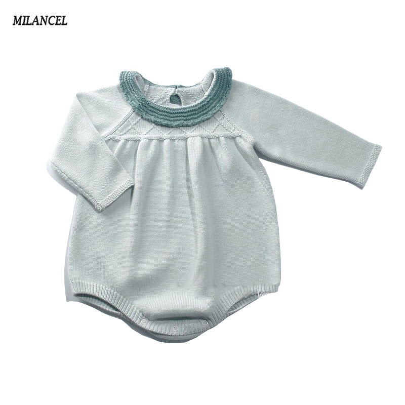 Hot Cute Knitted Full Sleeve Baby Bodysuit Pure Cotton Stylish Baby Girl Sweater Body Suits kids jumpsuit infant-eosegal