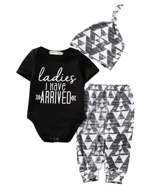 3x Newborn Baby Girl Boy Cotton Short Sleeve Romper +Pants Hat Outfits Toddler Clothes Set-eosegal