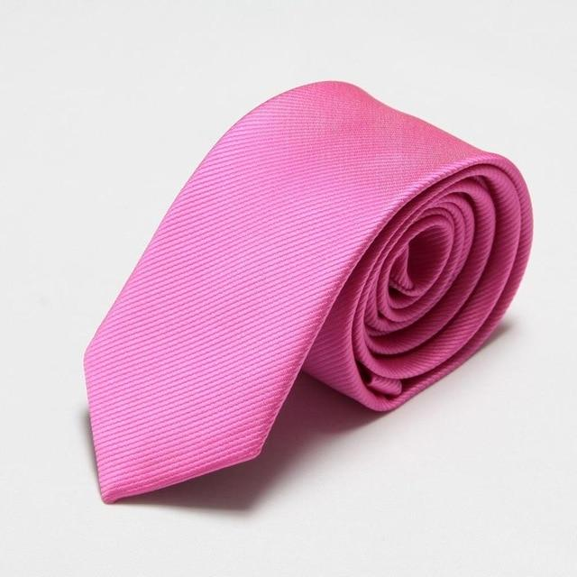 2018 fashion solid slim ties pink neck skinny ties for men 6cmeosegal-eosegal