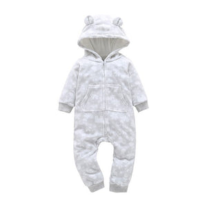 Baby Boy Girl Hooded Rompers Fleece Long Sleeve with Zipper and kids Bebes One-pieces Clothes COTTON Overalls-eosegal