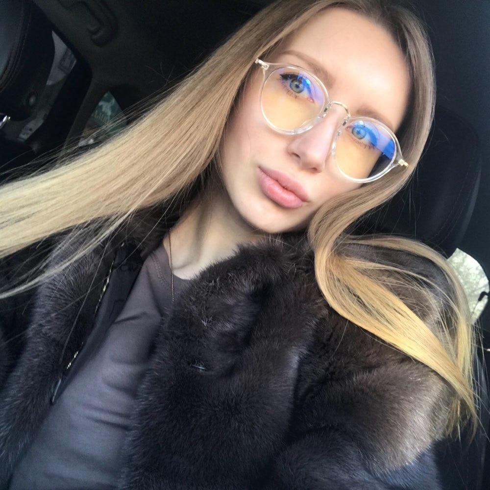 Round Glasses Women Transparent Clear Fashion Decorative No Degree Lens Big Armacaoeosegal-eosegal