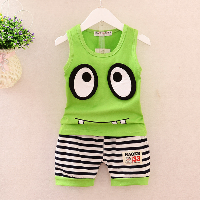 Summer baby boys Clothing set Big Eyes Vest +shorts Sports Suit set kid boys summer vest clothes set infant baby clothing set-eosegal