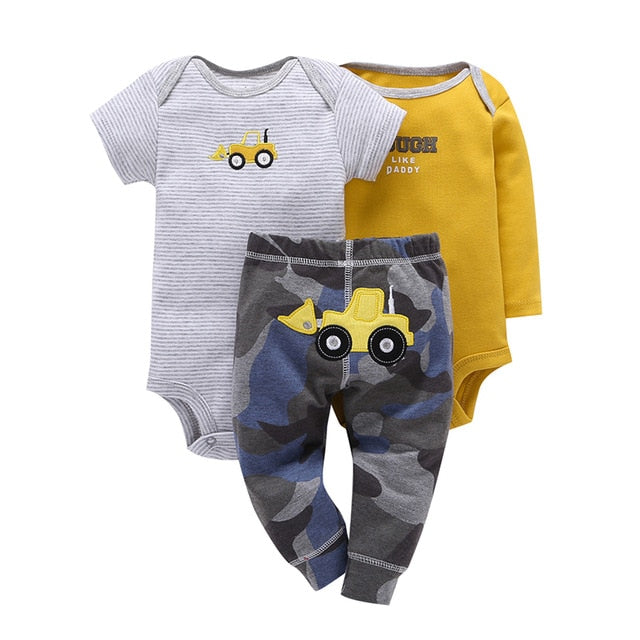 3pcs/Set kids bebes Original conjunto de roupa Baby Clothing Girl and Boy Bodysuit Baby 100% Cotton Triangle Rompers Set-eosegal