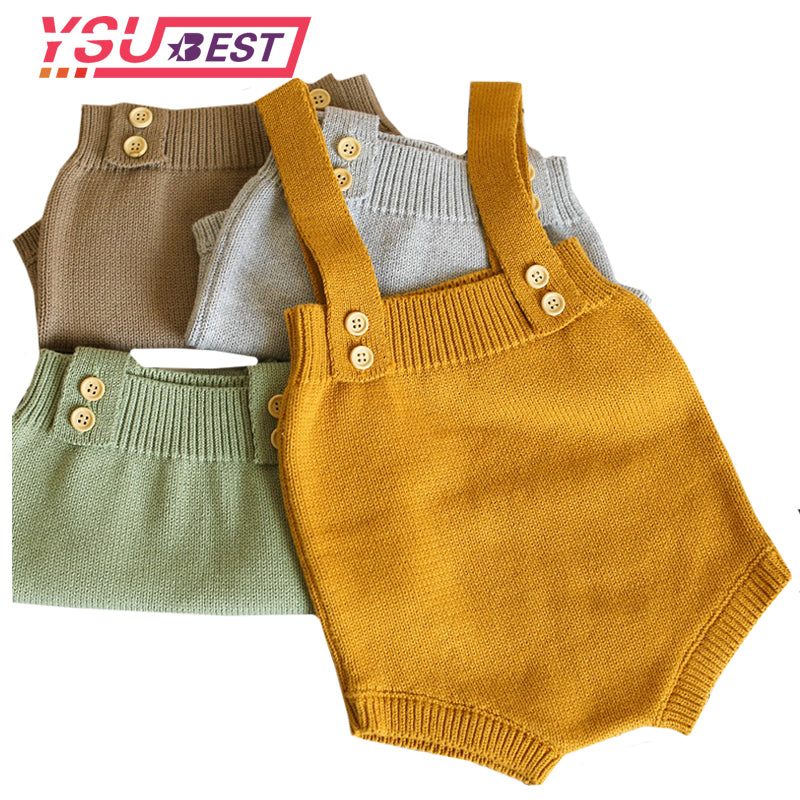 0-24M Baby Knitting Rompers Cute Overalls Newborn Autumn Baby Boys Clothes Infantil Baby Girl Boy Sleeveless Romper Jumpsuit-eosegal