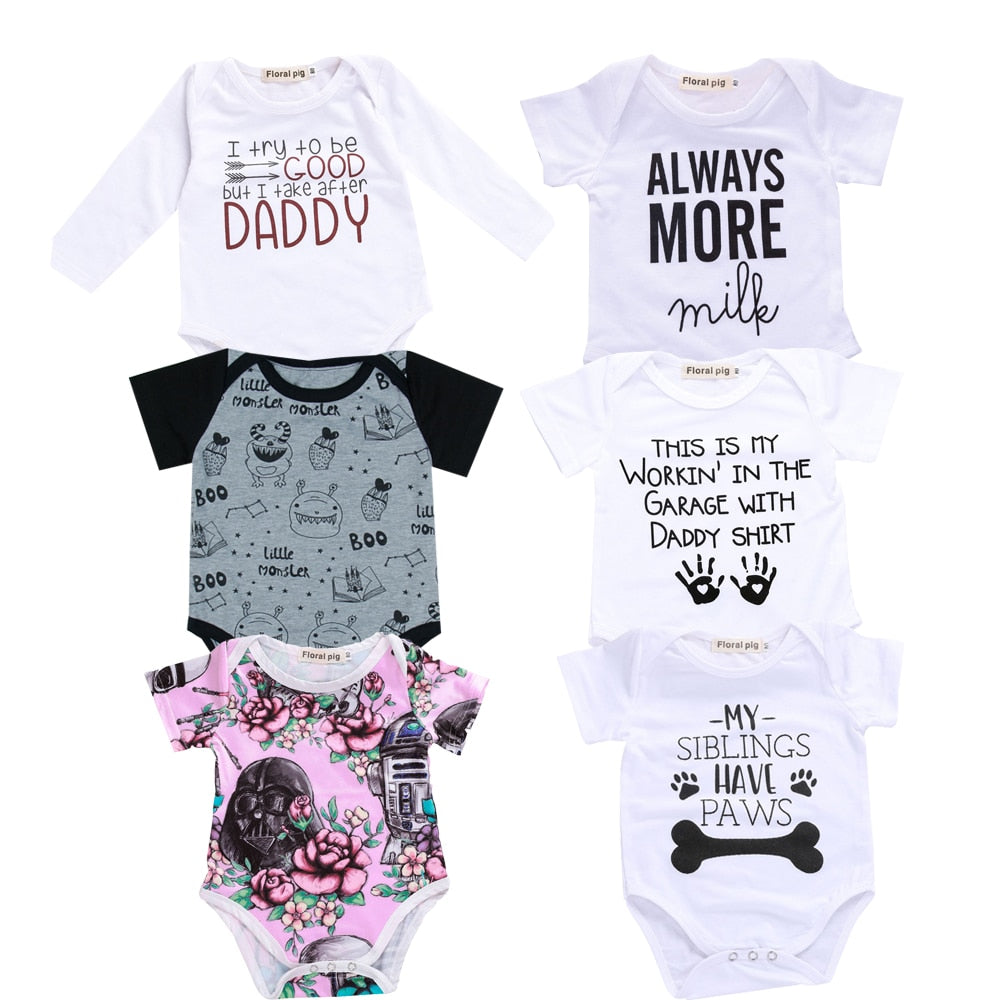 2018 Baby Boy Girl Clothes Party Siblings Daddy Auntie Letter Baby Bodysuit Short Sleeve Jumpsuit Baby Onesie 0-18 Tiny Cottons-eosegal