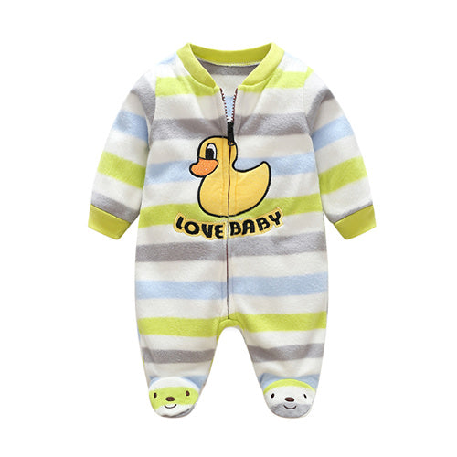 3M-12M Baby Rompers Winter Warm Fleece Clothing Set for Boys Cartoon Monkey Infant Girls Clothes Newborn Overalls Baby Jumpsuit-eosegal
