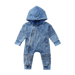 Fashion Newborn Kid Baby Boy Girl Denim Hooded Long Sleeve Romper Playsuit Pants Outfit Clothes 0-3T-eosegal