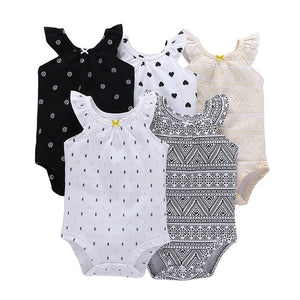 5pcs/lot Baby Romper Short Sleeve Cotton Boy Girl Clothes Wear Jumpsuits Clothing Set Body Suits 6 months to 24 months-eosegal