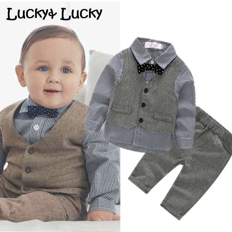 (4pcs/set) wedding baby clothing set newborn baby clothes shirt+vest+pant+bow-eosegal
