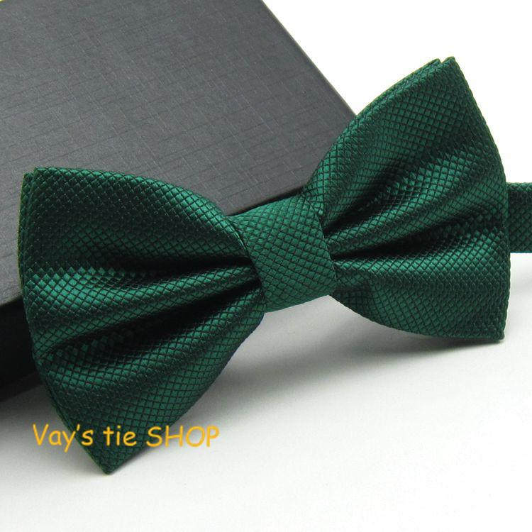 1pc Dark Green Grid Bow ties Emerald Color Cravat For meneosegal-eosegal
