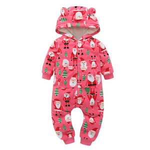 Brand fall cute baby rompers Green wave point love fleece lining baby hooded jumpsuit infants newborn clothing ,kids outwear-eosegal