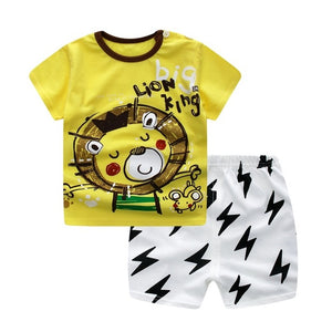 Summer Baby Girl Clothes Set Cotton Cartoon Animal Newborn Baby Clothes short t shirt+short Pant Baby Boy Clothing Set-eosegal