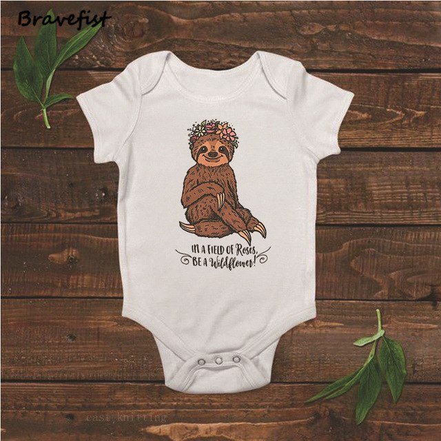Funny Sloth Newborn Bodysuits Infant Baby Girl Clothing Cotton Bodysuits Short Sleeve Jumpsuit Kids Clothes Bodysuit Outfit 0-2Y-eosegal