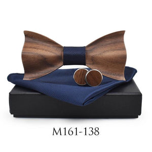 New 2018 3D Wooden tie Pocekt Square Cufflinks Fashion wood bow tieeosegal-eosegal