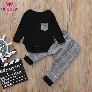 MUQGEW Infant Toddler Newborn Baby Girls Autumn 2pcs Toddler Baby Boys Long Sleeve Clothes Set Plaid Print Tops+Pants Outfits-eosegal