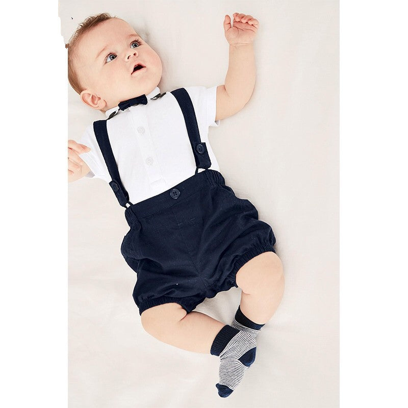 2018 Summer baby boy clothes set short sleeve T shirt+pants Gentleman suits baby rompers newborn Infant clothing jumpsuit outfit-eosegal