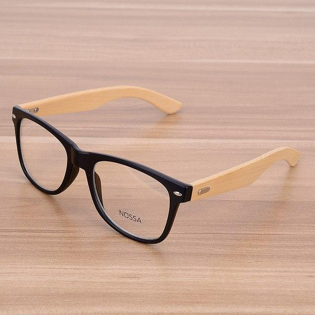 Oversized Glasses Frame Clear Lens Optical Frames Fake Eyeglasses Wooden Bamboo Blackeosegal-eosegal