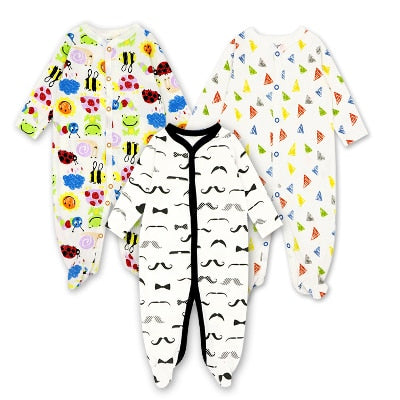 3pcs/lot Baby Footed Romper Baby Boy Clothes Comfortable Newborn Pajamas Cartoon Printed Infant Jumpsuit Romper Girl Clothes-eosegal