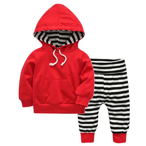 Baby Hoodie Spring Clothes Long Pants Set Casual Red Drawstring Front Pocket Hoodies Top Outwear Clothing-eosegal