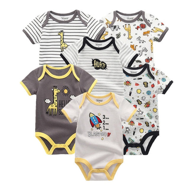 6 PCS/lot 2018 summer short sleeve baby rompers cotton baby jumpsuit girls roupa de bebe Baby girl Clothes-eosegal