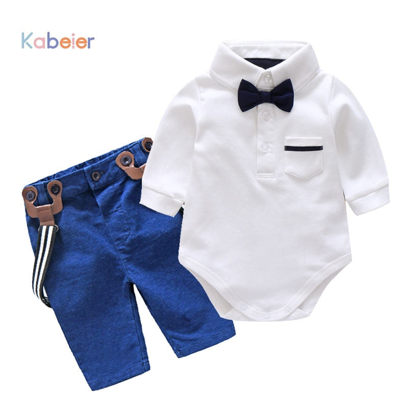 Boy Baby Clothes Set Autumn kid's Glentmen Bodysuit with Straps Trousers Newborn Clothing Infant Boys Party Clothes Suit-eosegal