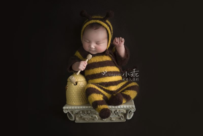 Newborn bee mohair outfits photography props,baby soft bee bodysuit with hat full set,baby photography jumpsuits props-eosegal