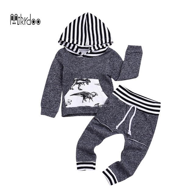 Newborn Baby Boy Girls Grey Dinosaur Print Clothes Sets Long Sleeve Hooded Casual Clothing Outfit Baby Boy Winter Clothing Set-eosegal