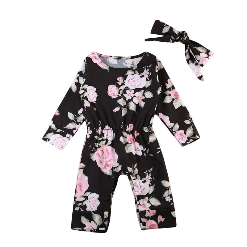 Baby Kids Boys Girls Clothes long sleeve round neck Floral print Romper Bow Headband 2pc Toddler Cotton newborn cute Outfit-eosegal