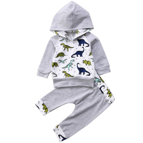 0-24M Newborn Baby Kids Boys Girls Clothes Dinosaur Hooded Tops+ Long Pant Outfit 2Pcs Baby Clothing-eosegal