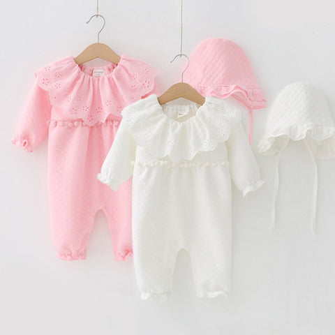 16e9a904b65e Winter Turndown Newborn Baby Girl Rompers Thicken Warm Air Cotton Jumpsuit  Clothing Princess Christmas Girls Onesie