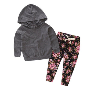 MUQGEW 2PCS Infant Toddler Newborn Baby Girls Floral Baby Boys Clothes Hooded Top Clothes+Floral Print Pants Sets roupa de bebe-eosegal