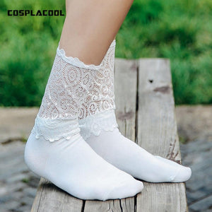 [COSPLACOOL] 2017 summer socks sexy women socks Solid color Light thin Harajuku Japan Lace edge Princess style black white-eosegal