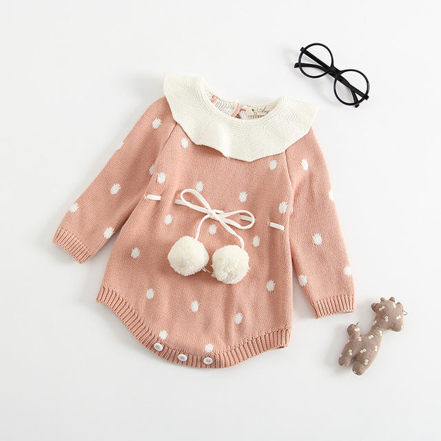 Autumn Baby Knitted rompers baby girls clothes Handmade Embroidered Conjoined Clothes Knitting Hat Triangle Toddler Jumpsuit-eosegal