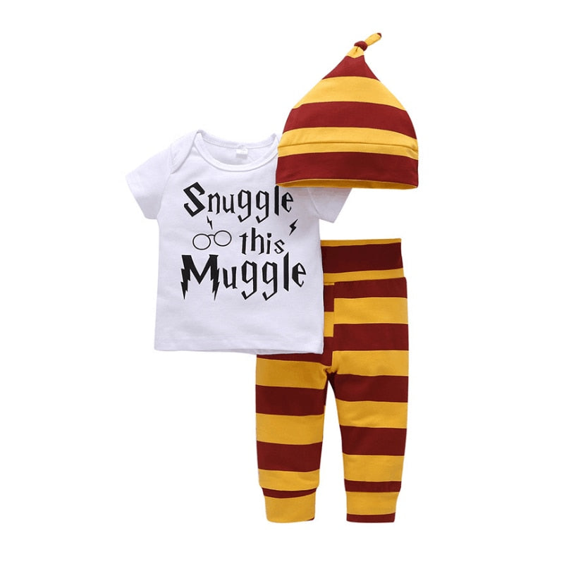 Newborn baby boy girls clothes set Snuggle This Muggle T-shirt+striped pants+hat Children bebes 3 pieces clothing sets-eosegal