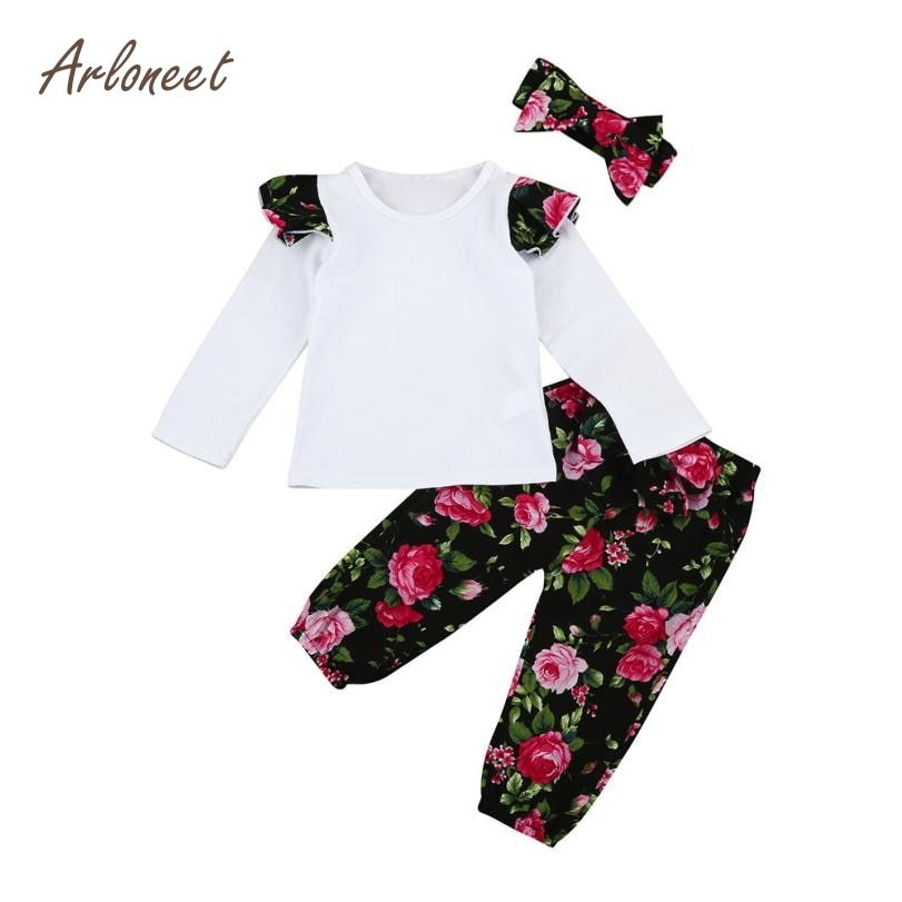 ARLONEET Baby Girl Clothes Set Winter Long Sleeve 3pcs Infant Baby Girls Floral Clothes Set Outfits Sets E30 Jan18-eosegal