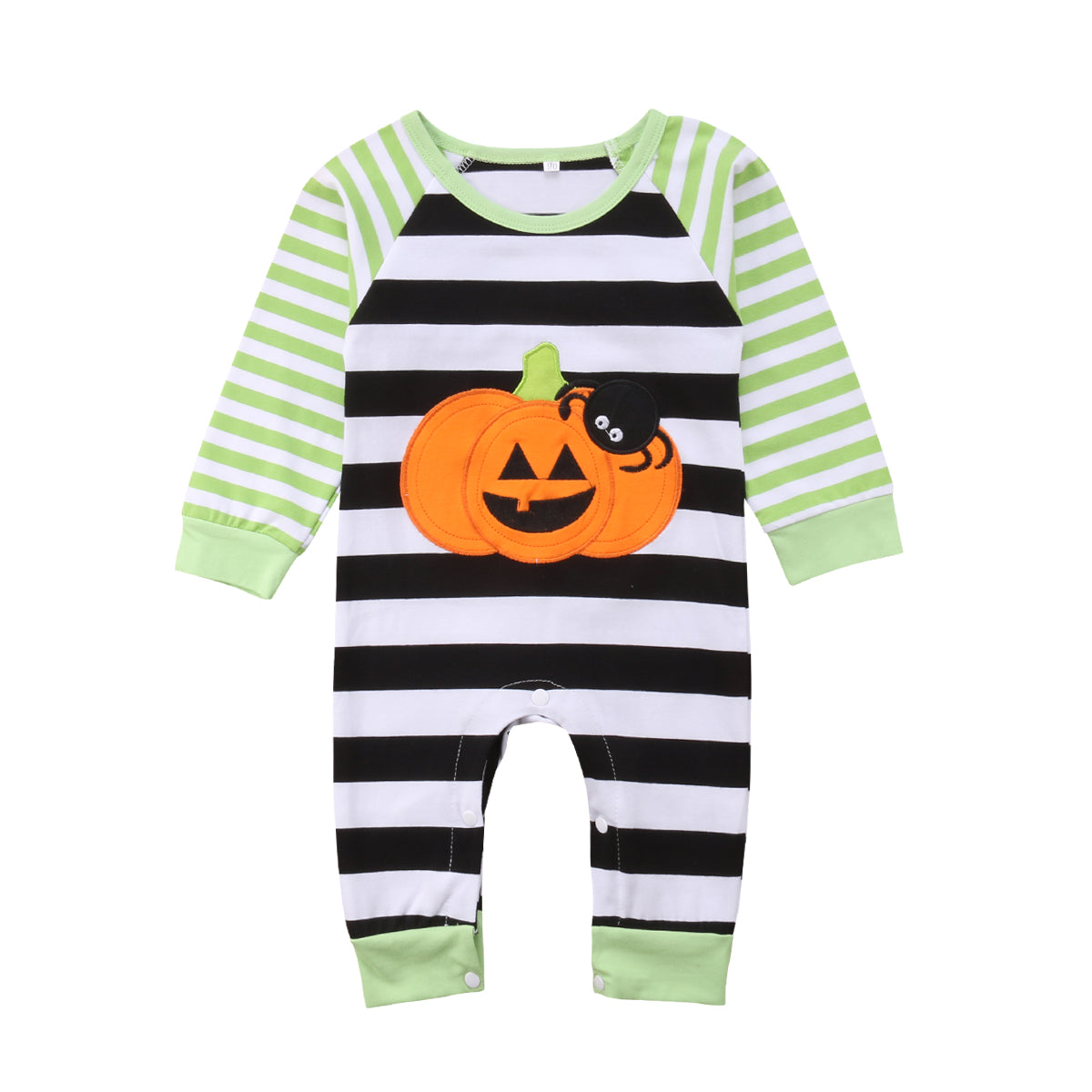 2018 Newborn Baby Kids Boys Girls Long Sleeves Pumpkin Romper Jumpsuit Green Striped Cotton Outfit Autumn Halloween Set-eosegal