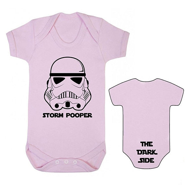 "YSCULBUTOL Storm Pooper ""THE DARK SIDE"" Baby bodysuit Baby Grow Star Wars Inspired Front and back print baby clothes 0-12M-eosegal"