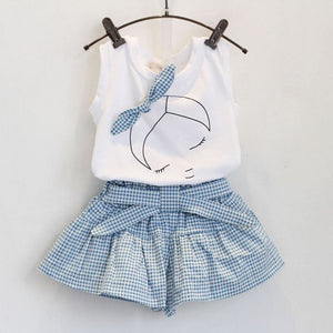 2018 Summer New Girl's Lattice Printed Bow Tie Cowboy Vest + White Chiffon Dress Girl's Skirt-eosegal