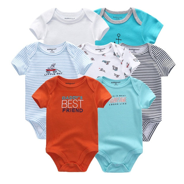 2018 7PCS/lot Newborn Baby Girl Clothes Bodysuits Baby Jumpsuit Clothing O-Neck 0-12M Short Sleeve Ropa bebe Baby Boys Clothes-eosegal