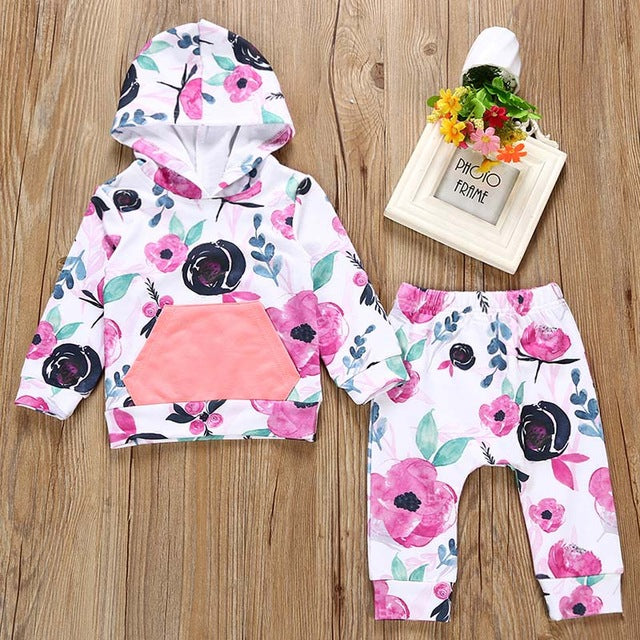 2018 Winter Infant Baby Girls Boys Clothes Set Long Sleeve Hooded Sweatshirt Tops+Pants Outfits Set Brand New Toddler Clothing-eosegal