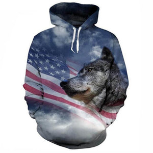 Unisex 3d Print ice/Fire Wolves Black White Wolf Hoodies Men/Women Casual Hoodieeosegal-eosegal