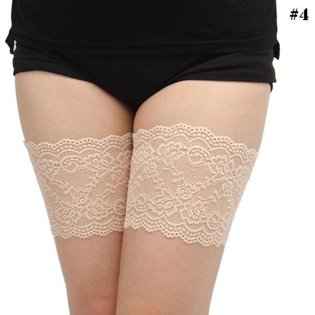 2pcs Sexy Floral Lace Leg Warmers For Women Anti-slip Thigh Lace Trim Boot Cuffs Wedding Lace Garters Anti-skid Thigh Socks-eosegal