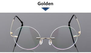 Steve Jobs Star Style Foldable Ultra-light Memory Titanium Rimless Round Myopia Eyeglasseseosegal-eosegal