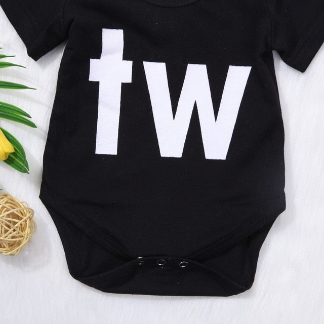 Newborn Infant Baby Boys Girls Bodysuit Cute Baby Twins Short Sleeve Bodysuits Outfits Clothes Baby Clothing-eosegal